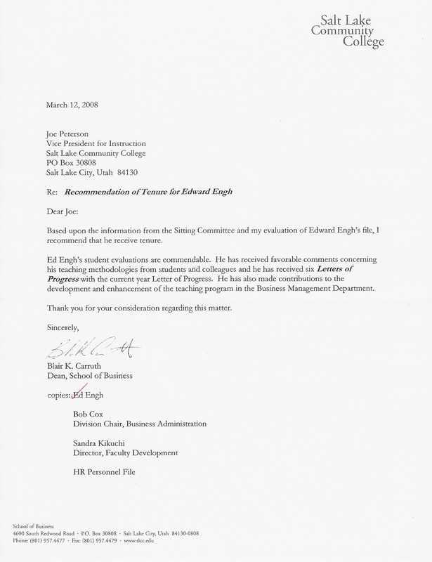 Letter Of Recommendation For Professor Tenure From Student Under